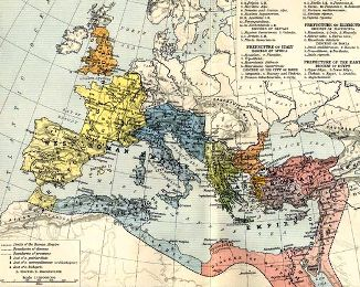 Map of the Roman Empire about 395AD